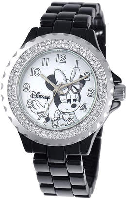 Disney Minnie Mouse Womens Black Enamel Watch with Crystals