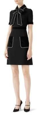 Gucci Crystal-Trimmed Velvet Bow Dress