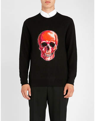 Alexander McQueen Skull-embroidered wool and mohair-blend jumper