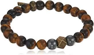 Ettika Tiger Eye and Hematite Beaded Men's Brass Bracelet
