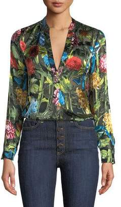 Alice + Olivia Amos Floral Burnout Long-Sleeve Tunic Top