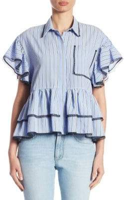 MSGM Stripe Poplin Short-Sleeve Peplum Top