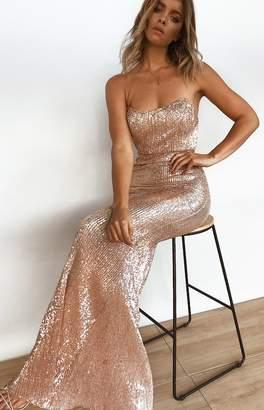 Beginning Boutique Crystal Ball Formal Dress Gold