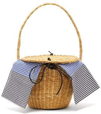 Muun Lou Woven Straw Basket Bag - Womens - Blue Multi