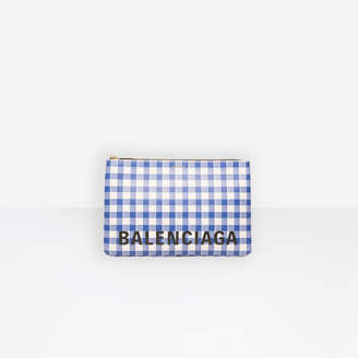 Balenciaga Large checked grained calfskin leather clutch
