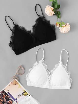 6130d55340806 Shein Eyelash Lace Bra Set 2pack