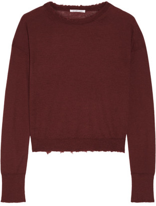 Helmut Lang - Frayed Cashmere Sweater - Burgundy $360 thestylecure.com