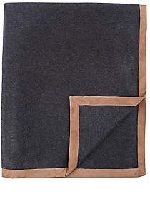 Barneys New York Suede-Trimmed Cashmere Throw-Charcoal