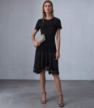 Reiss KELIS LACE TRIM DRESS Black