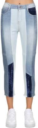 Sjyp Patchwork Cotton Denim Jeans