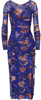 Diane von Furstenberg Canton Ruched Floral-print Mesh And Satin Dress - Indigo