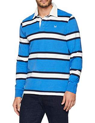 Crew Clothing Men's Varsity Stripe Rugby Sport Shirt, (Lapis Blue)