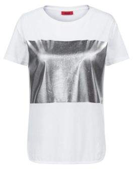 HUGO Boss Relaxed-fit jersey T-shirt silver-foil block print S White