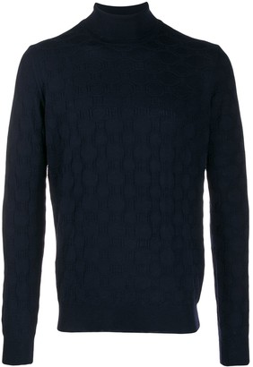 Corneliani patterned knit roll neck sweater