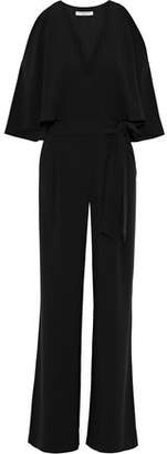 Halston Wrap-effect Layered Crepe Jumpsuit