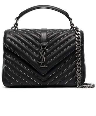 Saint Laurent black college stud embellished medium quilted leather shoulder bag
