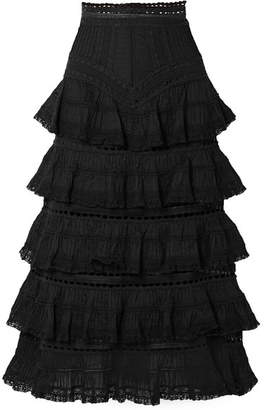 Zimmermann Juniper Lace-trimmed Tiered Pintucked Cotton-voile Midi Skirt - Black
