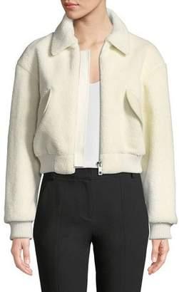 Tibi Gus Faux-Shearling Cropped Zip-Front Jacket