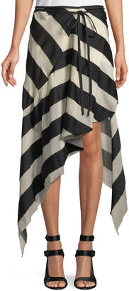 Marques Almeida Marques'almeida Spiral Asymmetric Striped Skirt