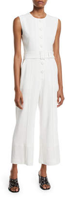 Derek Lam 10 Crosby Sleeveless Button-Down Jumpsuit w/ Belt