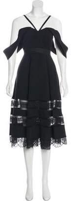 Self-Portrait Sleeveless Lace-Trimmed Midi Dress