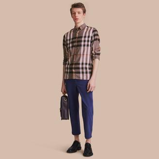 Burberry Button-down Collar Check Cotton Poplin Shirt $350 thestylecure.com
