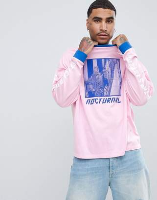 Asos DESIGN oversized long sleeve t-shirt with city scape print and contrast ringer