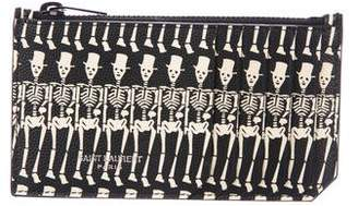 Saint Laurent Leather Skeleton Print Card Holder