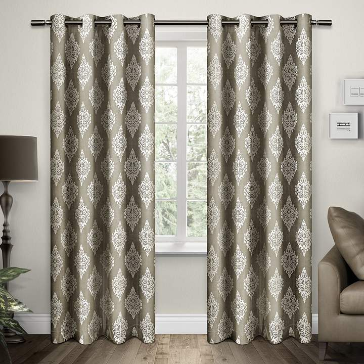 Exclusive Home Damask Grommet Top Curtain Panel Pair, 84-Inch