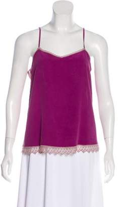 Zadig & Voltaire Lace-Trimmed Silk Top