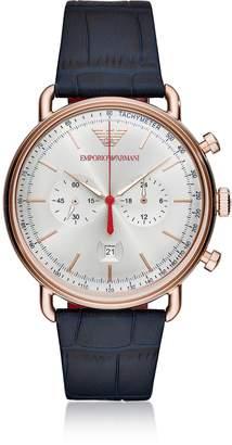 Emporio Armani Aviator Rose Gold Tone Croco Embossed Leather Men's Watch