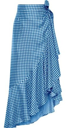 Paper London Lagos Ruffled Gingham Silk-twill Midi Wrap Skirt