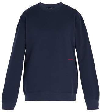 Calvin Klein Established Embroidery Cotton Sweatshirt - Mens - Navy