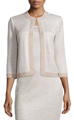 St. John Collection Allure Knit Jewel-Neck 3/4-Sleeve Jacket, Champagne $1,395 thestylecure.com