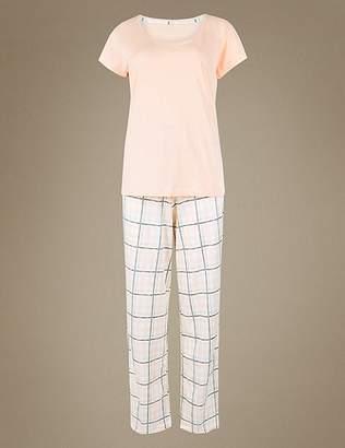Marks and Spencer Pure Cotton Checked Pyjama Set