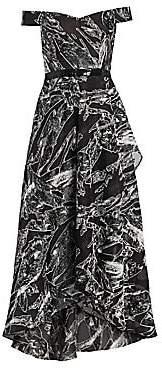 Rene Ruiz Collection Women's Off-The-Shoulder Geometric Fil Coupé Gown