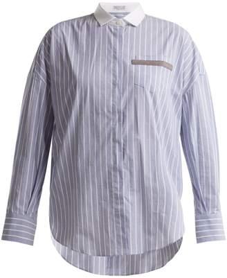Brunello Cucinelli Embellished-pocket striped cotton-blend shirt