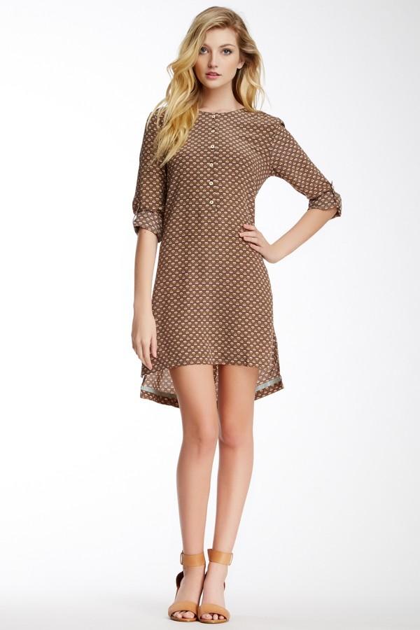 Trovata Long Sleeve Print Silk Tunic