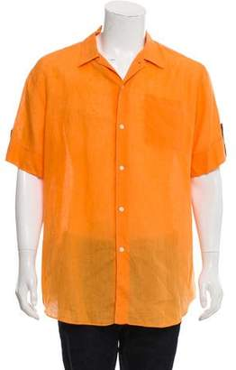 Hermes Leather-Accented Linen Shirt