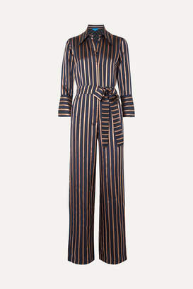 MiH Jeans Dexy Belted Striped Jacquard Jumpsuit - Navy