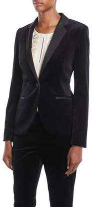 Escada One-Button Welt-Pockets Velvet Jacket w/ Satin Notch Lapels