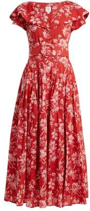 Gül Hürgel Gul Hurgel - Belted Floral Print Cotton Dress - Womens - Red Print