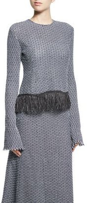 Derek Lam Long-Sleeve Crochet Top W/Fringe Hem, Navy/White $1,295 thestylecure.com