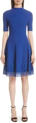 Lela Rose Lace Hem Fit & Flare Dress