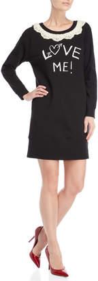 Love Moschino Scalloped Lace Collar Graphic Sweatshirt Dress
