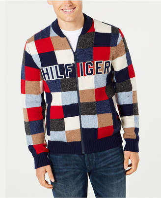 Tommy Hilfiger Men's Graph Logo Applique Full-Zip Cardigan
