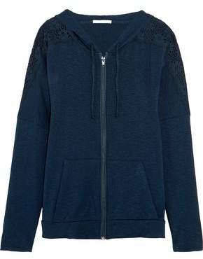 Eberjey Cara Lace-Paneled Slub Stretch-Jersey Hooded Top