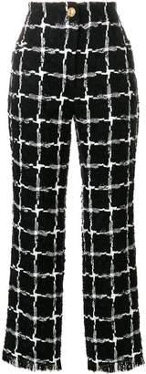 Balmain grid pattern raw edge trousers