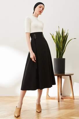 Rll / Studio High Waist Belted A Line Midi Skirt
