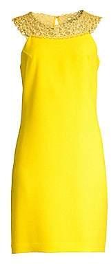 Trina Turk Women's Bliss Classic Crepe Lace Neck Sheath Dress